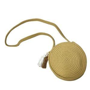 Shein | NEW Woven Round Beach Crossbody Tassel Bag